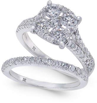 Macy's Diamond Cluster & Pavé Bridal Set (2 ct. t.w.) in 14k White Gold