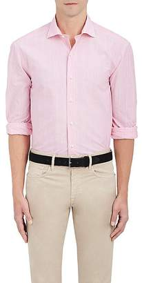 Barneys New York MEN'S STRIATED-STRIPED COTTON-LINEN DRESS SHIRT