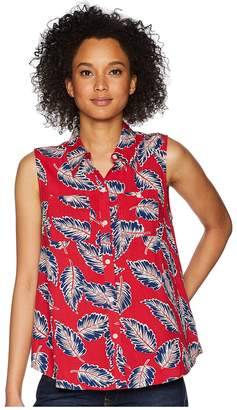 Chaps Tropical-Print Sleeveless Top Women's Sleeveless