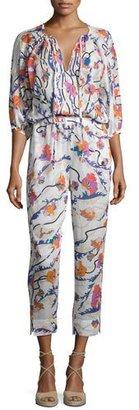 Emilio Pucci Ranuncoli Cotton Voile Jumpsuit Coverup, White/Pink $1,140 thestylecure.com