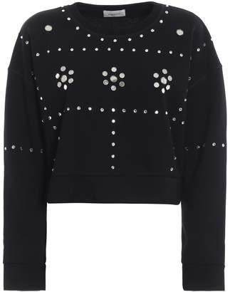 Dondup Rhinestone Mirror Embellished Crop Sweatshirt
