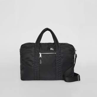 Burberry EKD Aviator Nylon and Leather Briefcase, Black