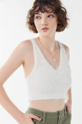 Urban Outfitters Kara Embroidered Cropped Sweater Tank Top