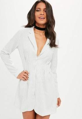 Missguided Pinstripe Cinched Waist Blazer Dress