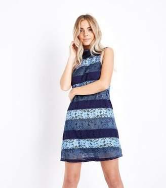 Yumi Blue Floral Lace Shift Dress