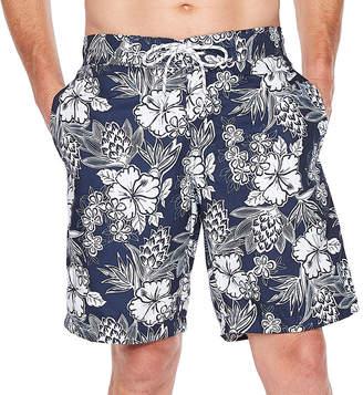 ST. JOHN'S BAY Navy Hibiscus Swim Shorts
