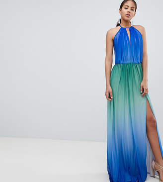 John Zack Tall Plunge Front Maxi With High Thigh Split