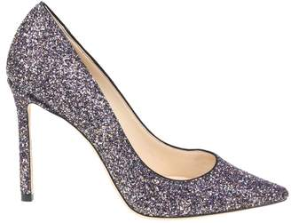 Jimmy Choo Decollete In Glitter Multicolor Leather