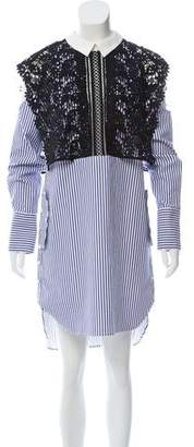 Self-Portrait Striped Lace Accented Shirtdress