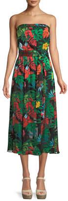Alice + Olivia Mazie Tropical-Print Strapless Tea-Length Dress