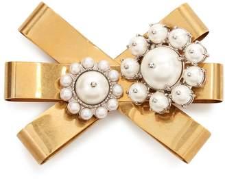 Miu Miu Faux-pearl embellished bow brooch