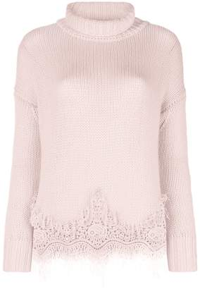 Ermanno Scervino fringed lace hem turtleneck sweater