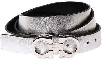 Salvatore Ferragamo 25mm Reversible Metallic Leather Belt