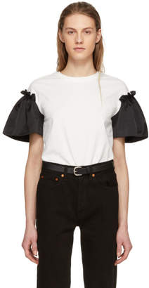 Edit White and Black Satin Frill Sleeve T-Shirt
