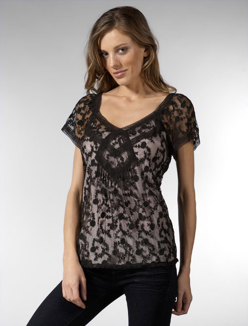 Rebecca Taylor Embroidered Tulle Top