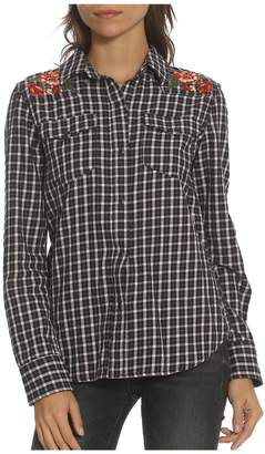 Driftwood Women's Floral Embroidered Plaid Button-Down Shirt