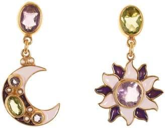 Papi Percossi Sun & Moon Purple Stone Drop Earrings