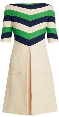 Gucci Chevron Striped Wool Blend Dress - Womens - White Multi