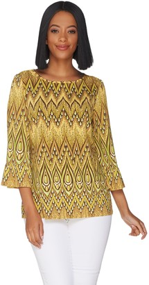 Bob Mackie Peacock Feather Printed Knit Top with Ruffle Sleeves