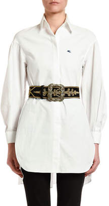 Etro Golden-Embroidered Leather Jewel Buckle Belt