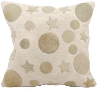 Nourison Mina Victory Natural Leather Moon and Stars Pillow