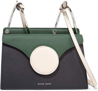 Lente Danse Phoebe Mini Color-block Textured-leather Shoulder Bag - Forest green