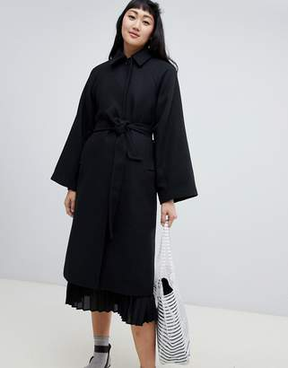Monki tailored belted coat in black