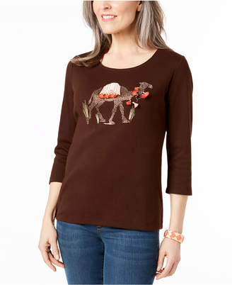 Karen Scott Petite Cotton Camel Graphic Top, Created for Macy's