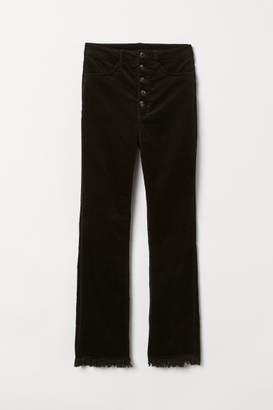H&M Cropped Corduroy Pants - Black