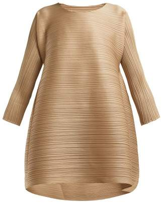 Pleats Please Issey Miyake Stratum Pleated Dress - Womens - Beige