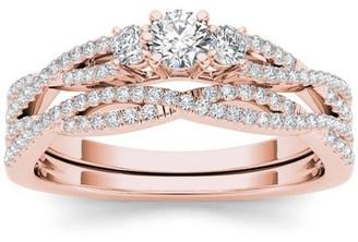 Imperial Diamond Imperial 1/2 Carat T.W. Diamond Criss-Cross Shank Three-Stone 14kt Rose Gold Engagement Ring Set