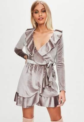 Missguided Purple Velvet Plunge Tie Waist Tea Dress