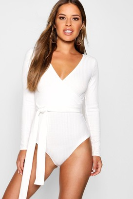boohoo Petite Knitted Wrap Bodysuit