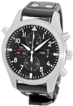 """IWC Pilot"""" Double Split Second Stainless Steel Chronograph Automatic Strap Watch"""