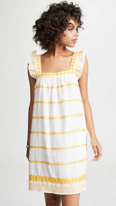 Tory Burch Embroidered Ruffle Sleeveless Dress