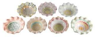 Mackenzie Childs MacKenzie-Childs Set of 7 Taylor Hand-Painted Ruffled Bowls