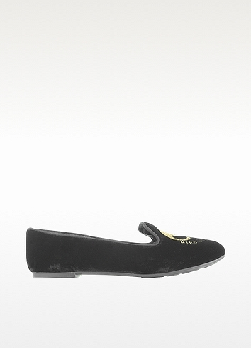 Marc by Marc Jacobs Black Embroidered Mouse Velvet Moccasin