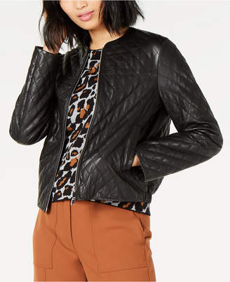 Marella Quilted Leather Bomber Jacket