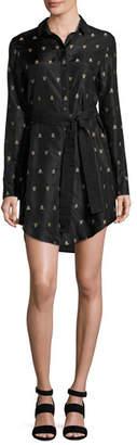 Maiyet Long-Sleeve Printed Silk Shirtdress, Black