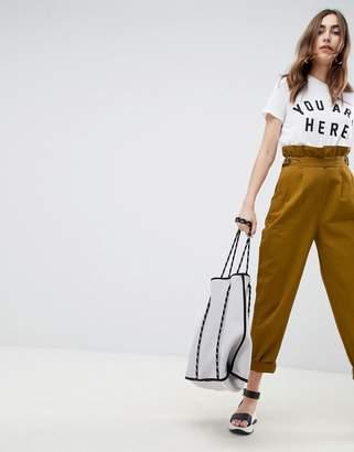 Asos Design DESIGN paper bag waist pants in mustard