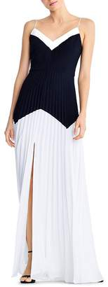 Aidan Mattox Pleated Color-Blocked Gown