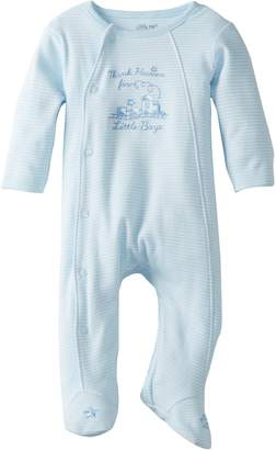 Little Me Baby Boys Newborn Thank Heavens Footie, White/Light Blue