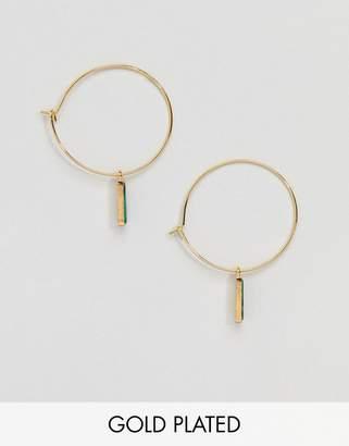 Orelia Gold Plated Drop Hoop Earrings