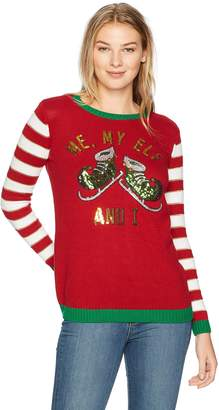 Ugly Christmas Sweater Junior's Me My Elf and I Sweater, Cayenne, M