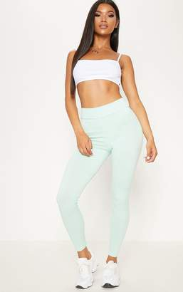 PrettyLittleThing Mint Ribbed High Waisted Legging