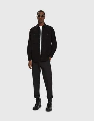Engineered Garments Work Button Up Shirt in Black Cotton Flannel