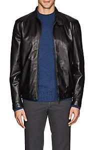 Isaia Men's Vintage Leather Moto Jacket - Black