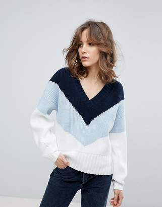 Selected Colour Block Knit Jumper