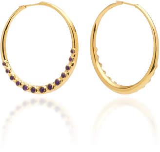 Theodora Warre Cabochon Amethyst Gold Plated Sterling Silver Hoop Earrings