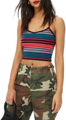 Topshop Fluro Stripe Crop Camisole